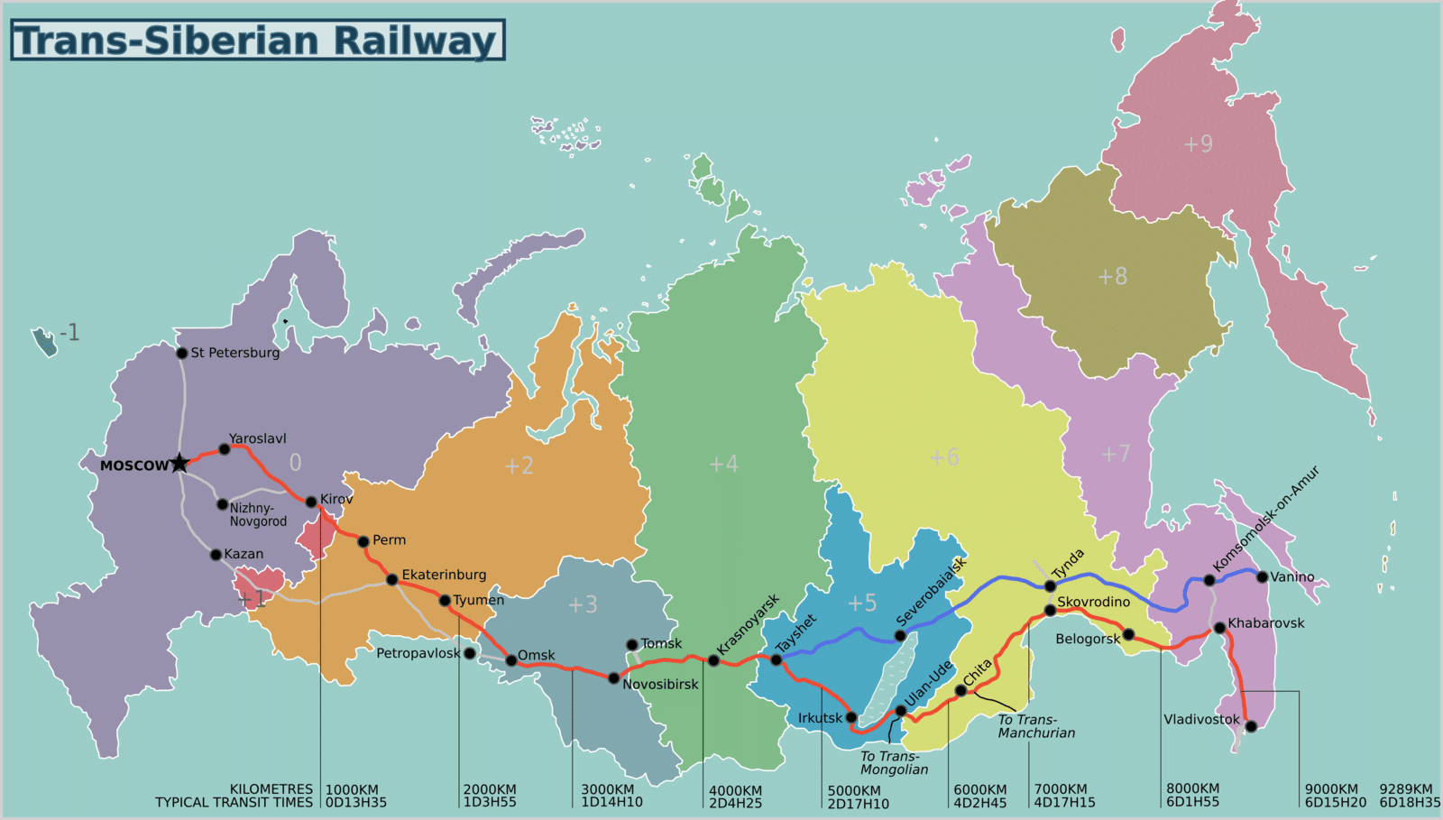 Map of the Trans Siberian route