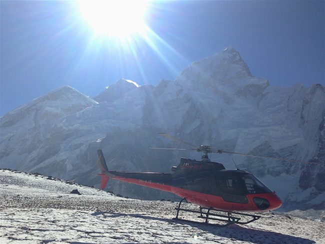 Landing at Everest Base Camp
