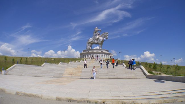 Wide angle shot of the Genghis Khan Equestrian Statue