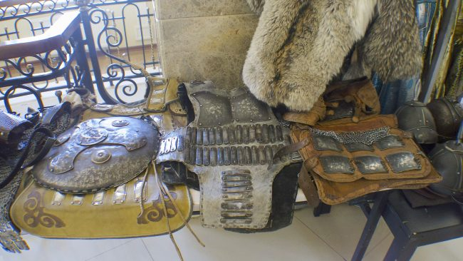 Armour and war paraphernalia available for sale near the statue of Ghengis Khan