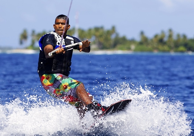 Wakeboarding at Six Senses Laamu