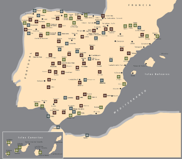 Map of Paradores in Spain