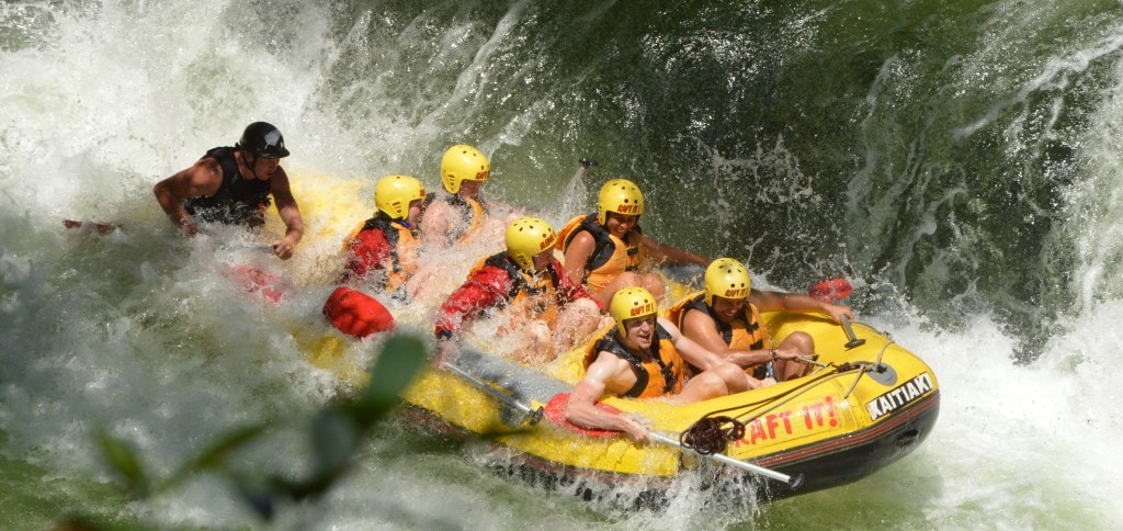 Smaller waterfall while white water rafting in Rotorua