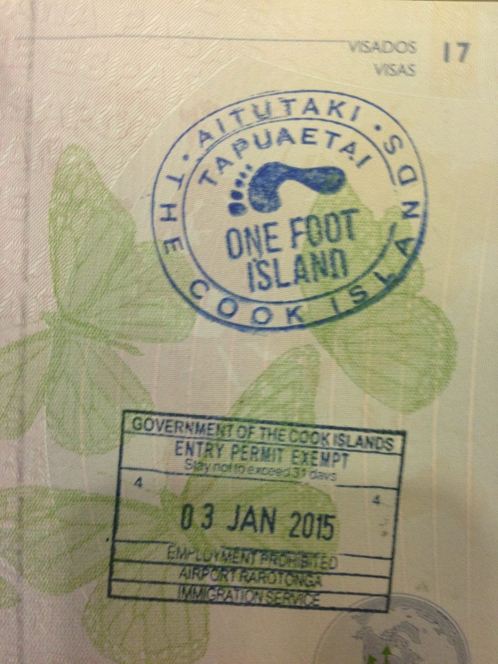 Getting stamped at One Foot Island