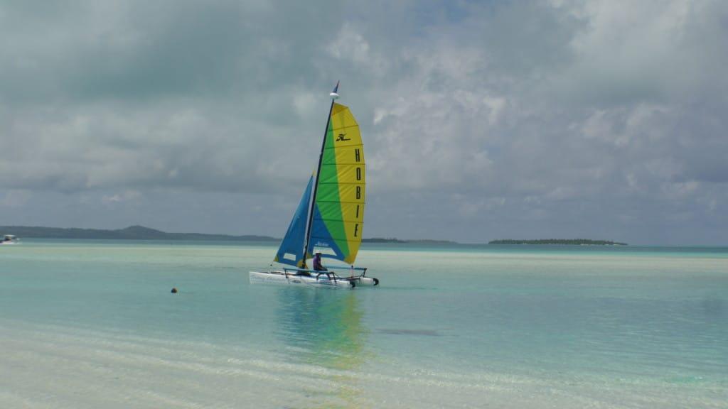 Sailing in Aitutaki Lagoon