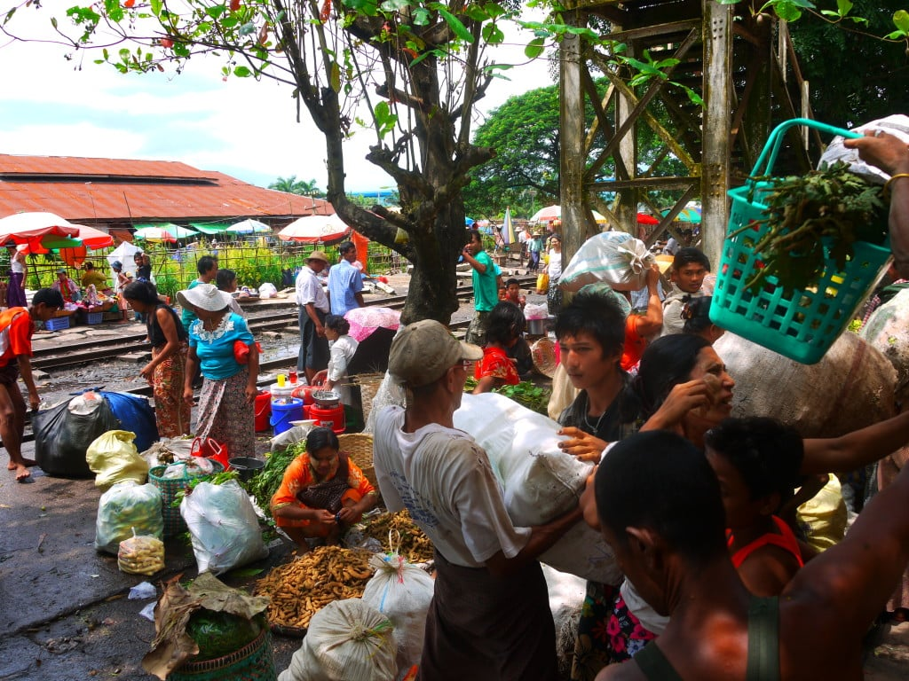 Market by the train track