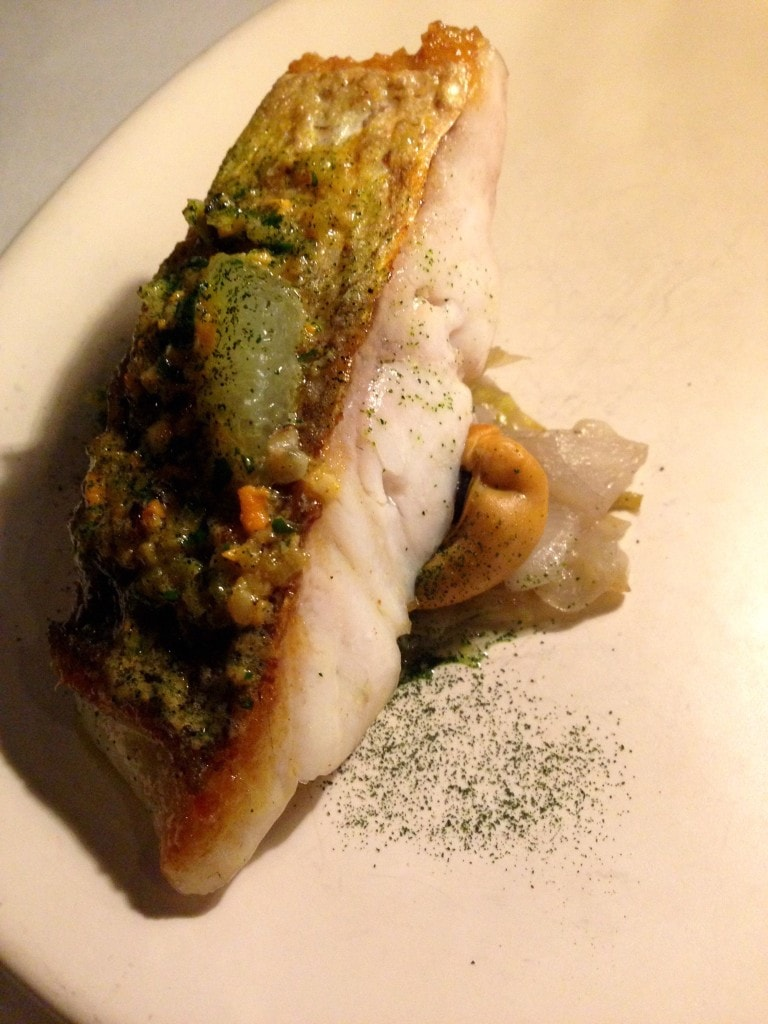Pink snapper with mussels, witlof and lime