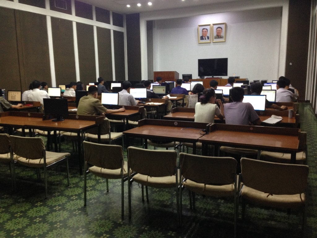 Computer class on a trip to North Korea