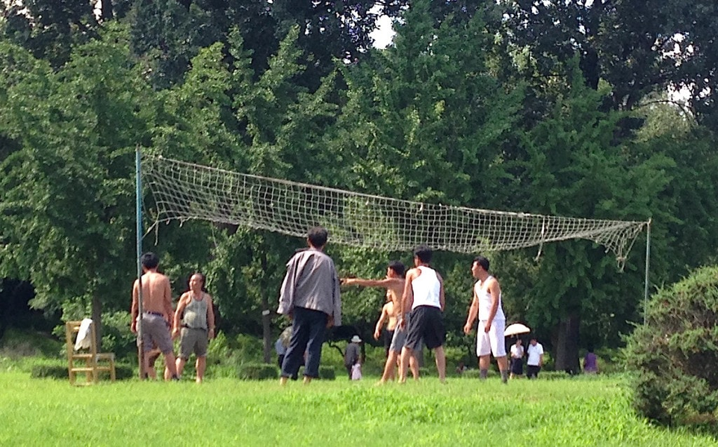 Volleyball in the park in DPRK