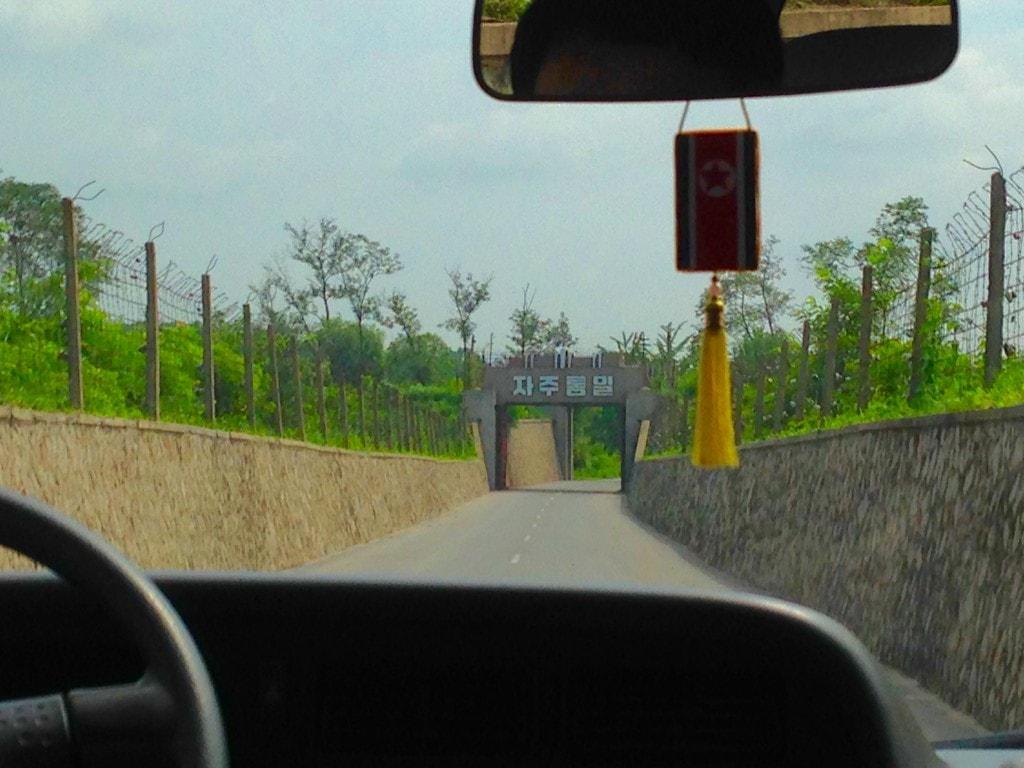 Entering the DMZ in North Korea