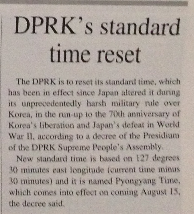 New time for North Korea