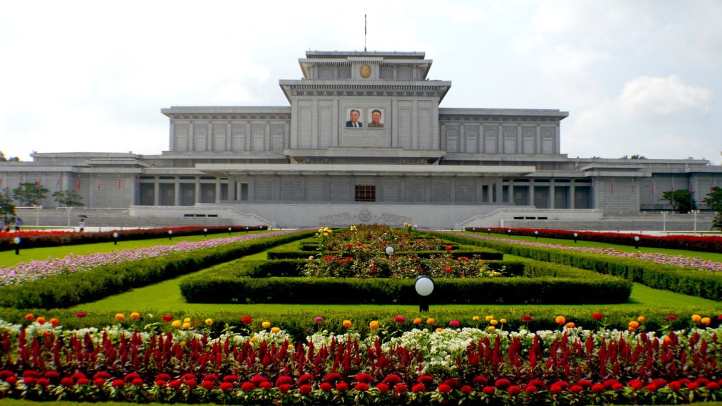Perfectly manicured lawns at Kumsusan North Korea