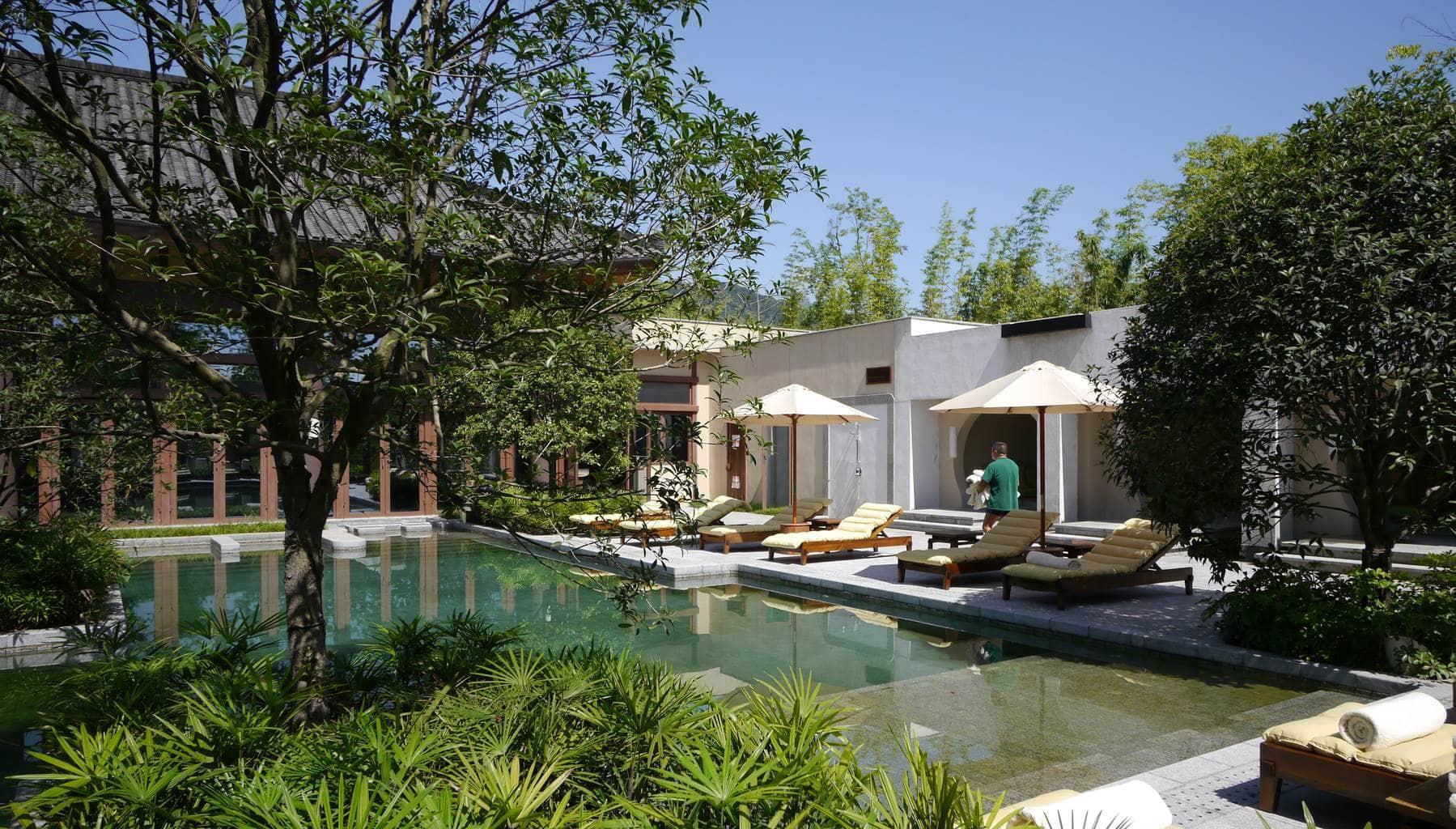Outdoor swimming pool at Six Senses Qing Cheng Mountain