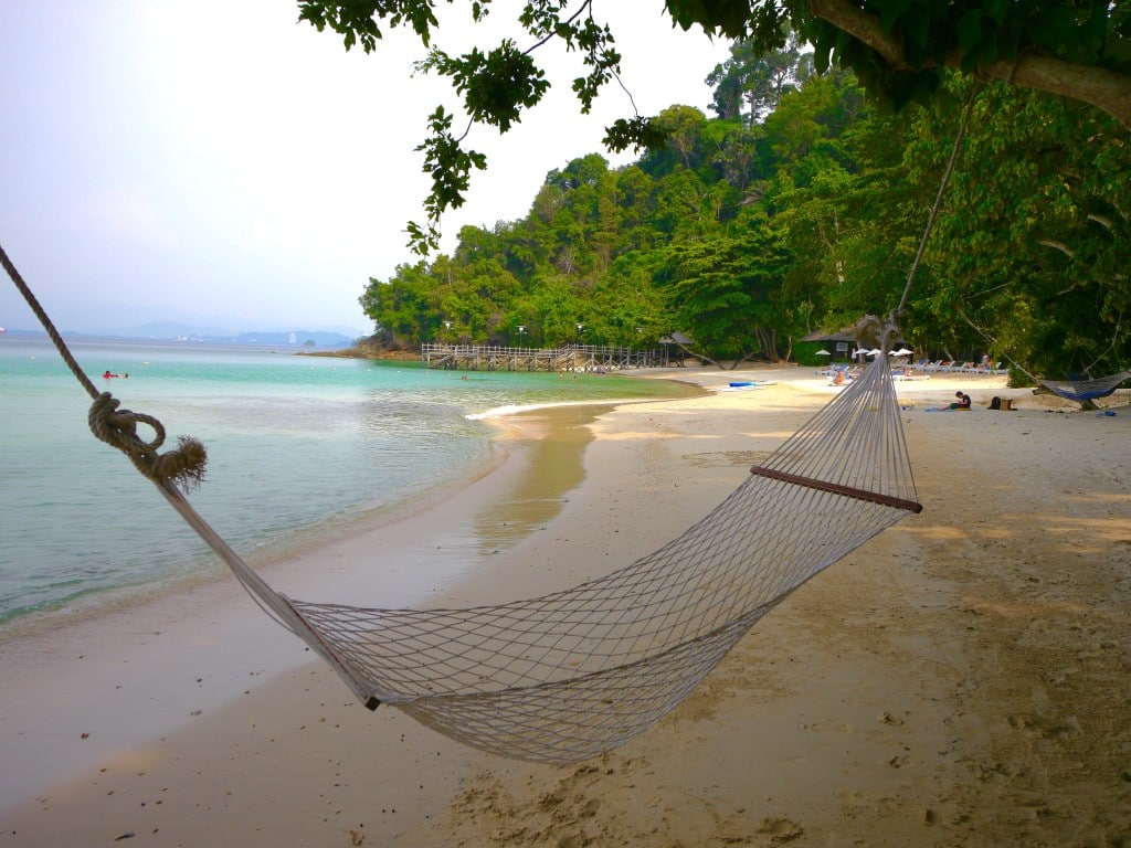 A hammock in the private beach