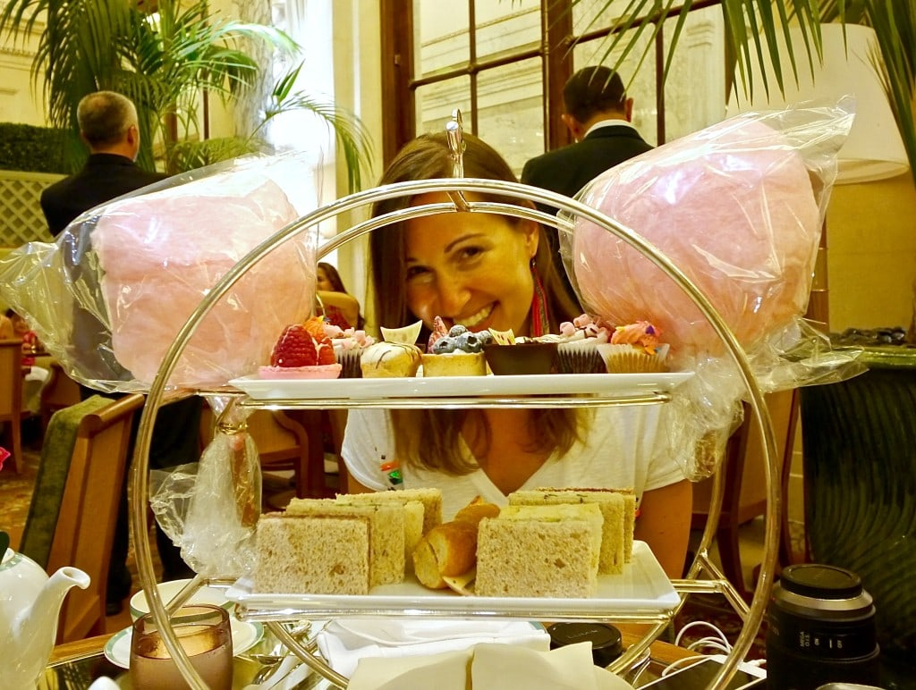 High Tea at The Plaza - me, happy with sweets