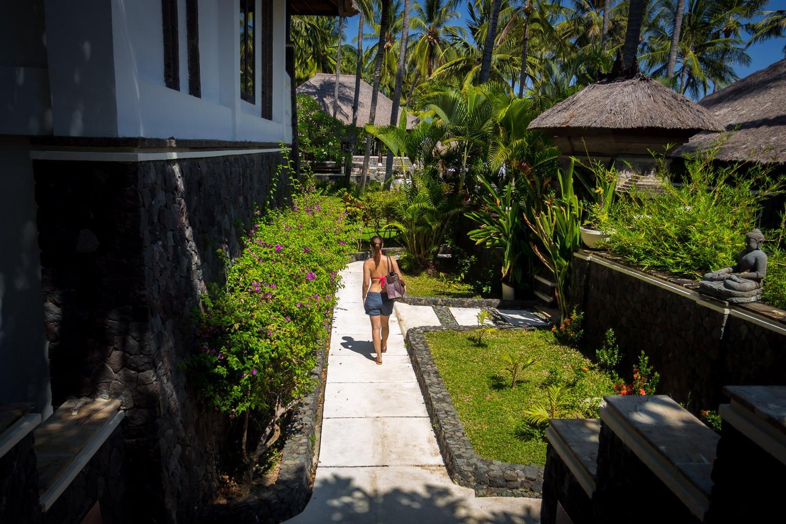 Walking among the beach villas