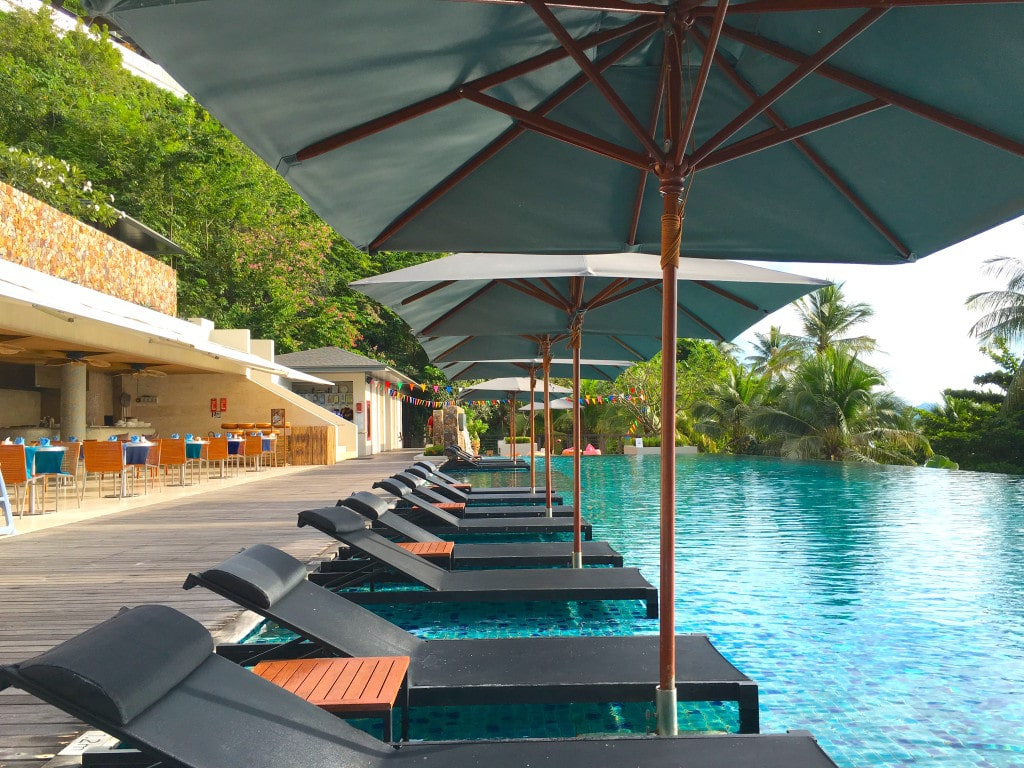 Loungers in the pool at Conrad Koh Samui