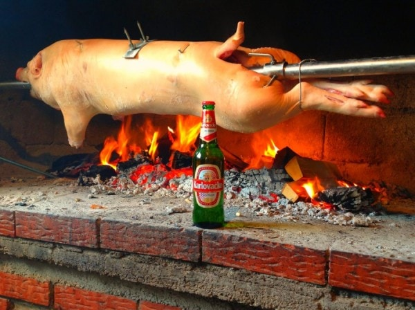 Spit roasted pig from Croatia