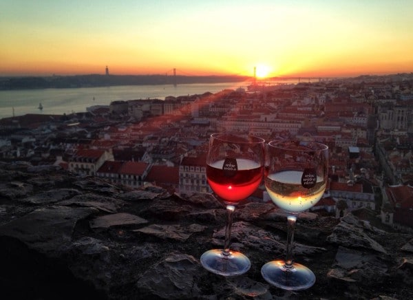 Apair of wine glasses from Lisbon