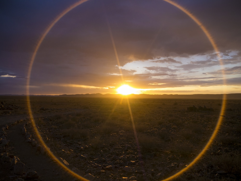 """Halo sunsets in Namibia"""