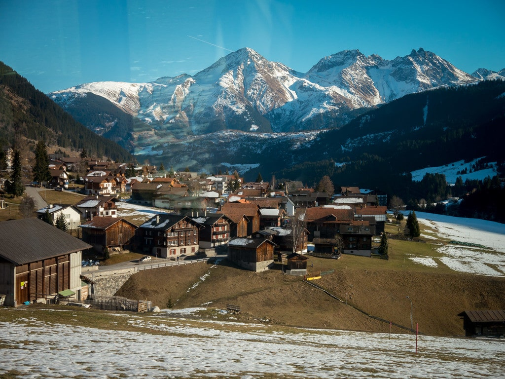 Glacier Express views of Andermatt