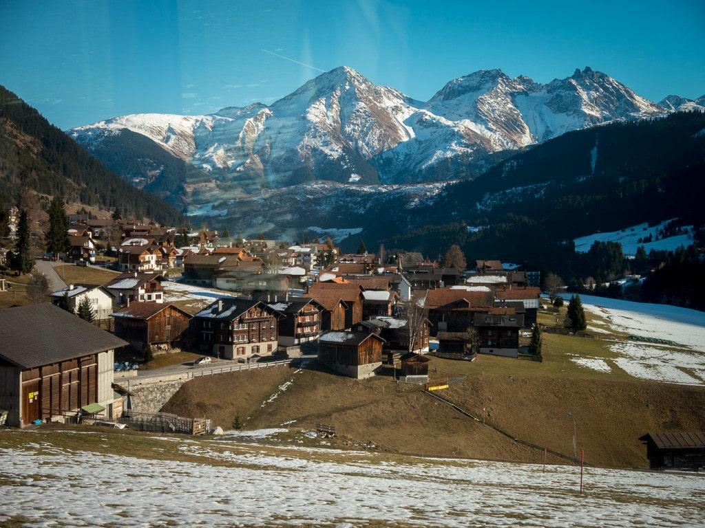 Glacier Express views of Andermatt