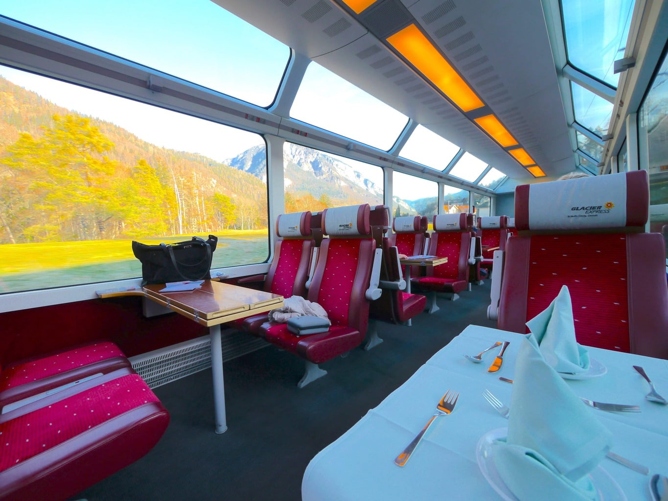 Seats onboard the Glacier Express