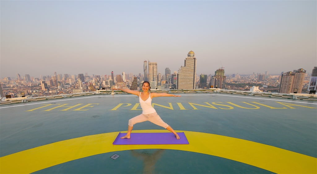 The Peninsula Bangkok helipad yoga