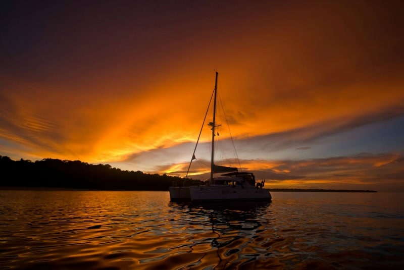Chartered Yacht at sunset in Phuket