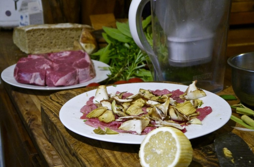 Carpaccio and Forentine steak