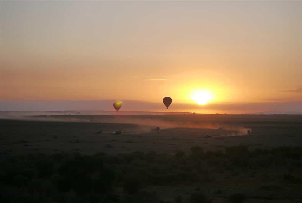 Hot air balloon over Maasai Mara on a classic safari in Kenya