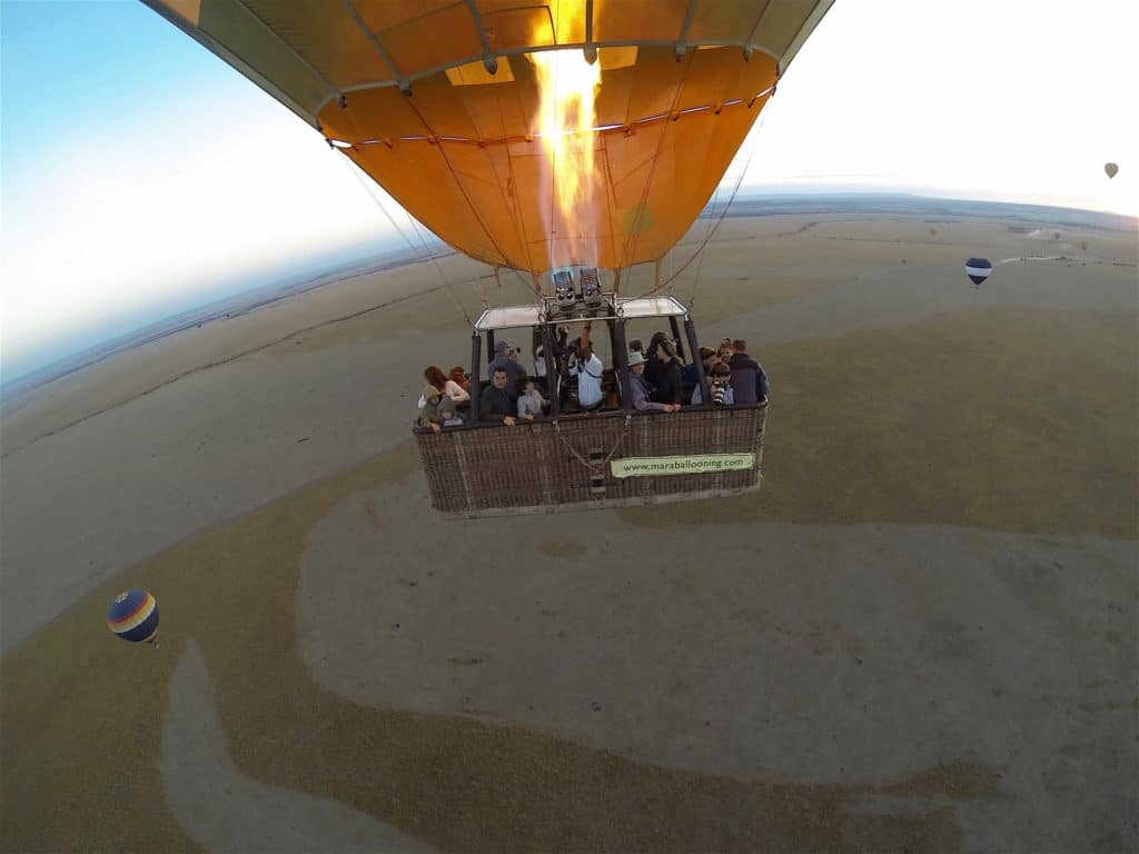 Hot air balloon over the Maasai Mara