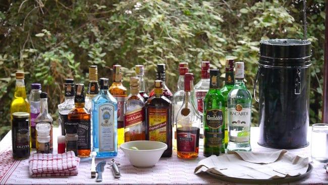 Drinks selection on safari