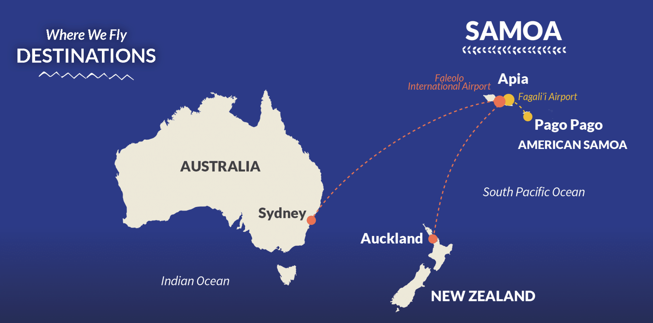 """""""Route map Samoa Airlines'"""
