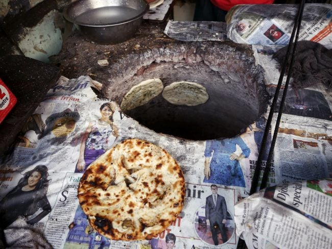 Kulcha in the tandoori oven
