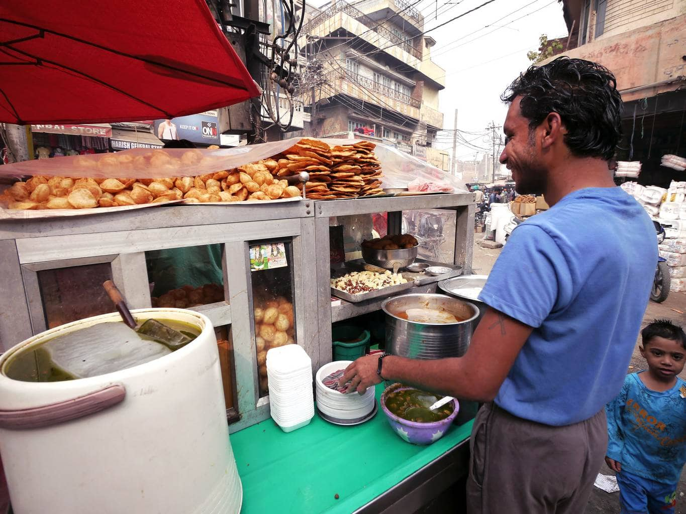 One of many snack street vendors in Amritsar
