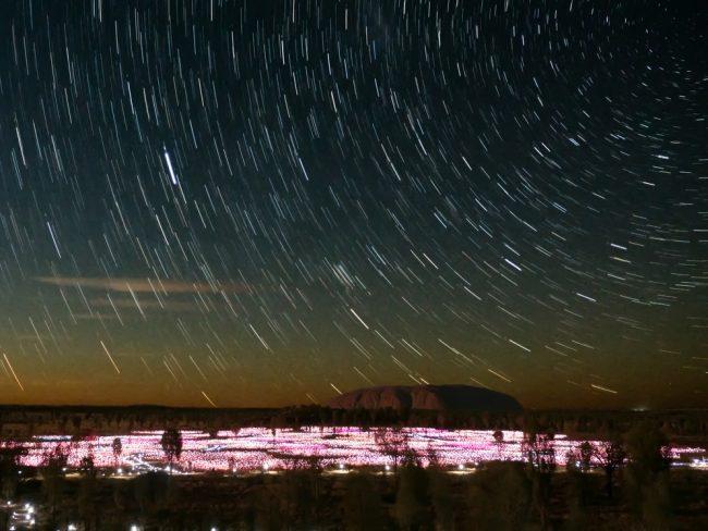 Uluru Ayers Rock star trail and Field of Light