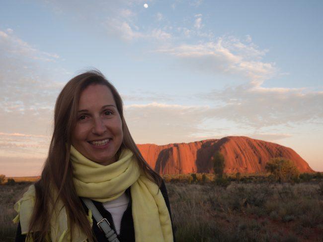 Sunrise on Uluru Ayers Rock from viewpoint