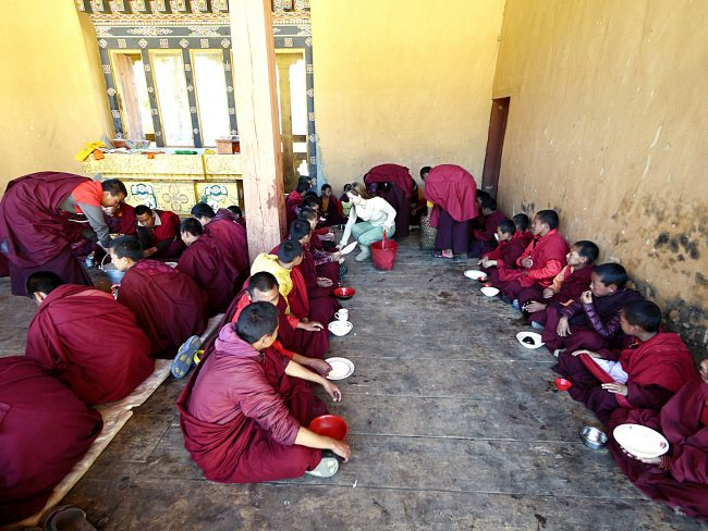 Serving lunch to the monks in Gangtey