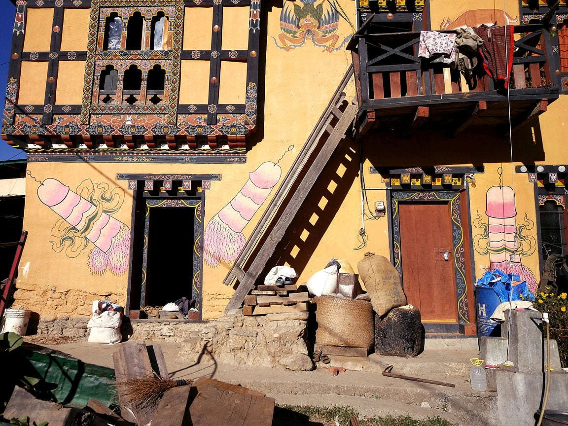 Village next to Fertility temple Chimi Lhakhang