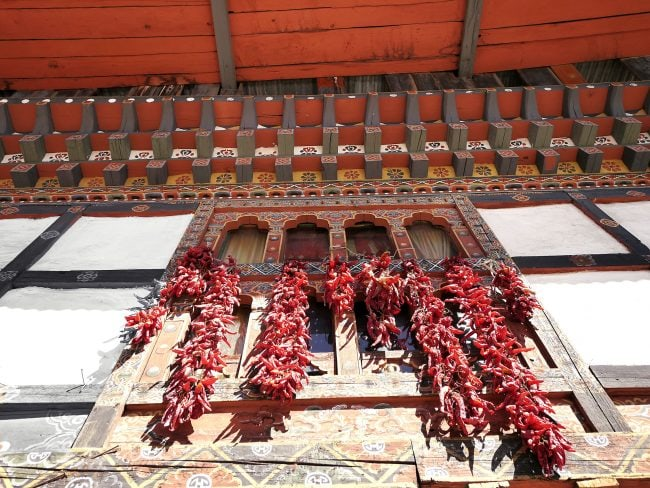 Chillies drying in Paro