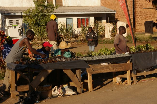 Local traders selling some food in Malawi