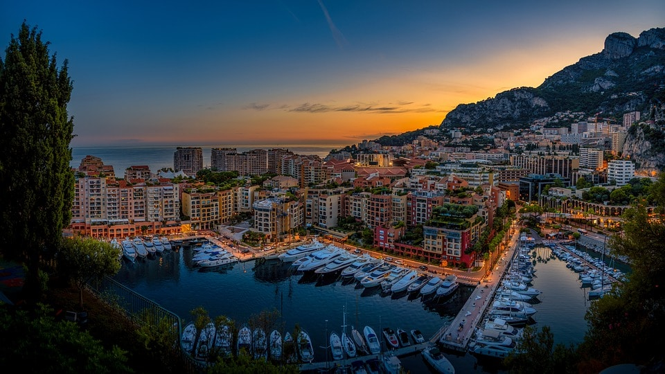 Monaco yachts at sunset