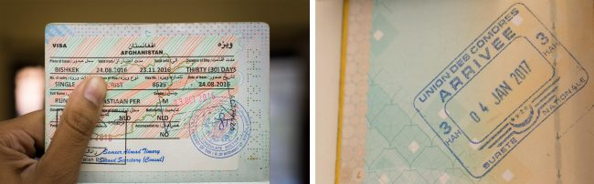 Passport stamps for Afghanistan and Comoros