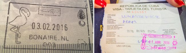 Passport stamp for Bonaire and Cuba