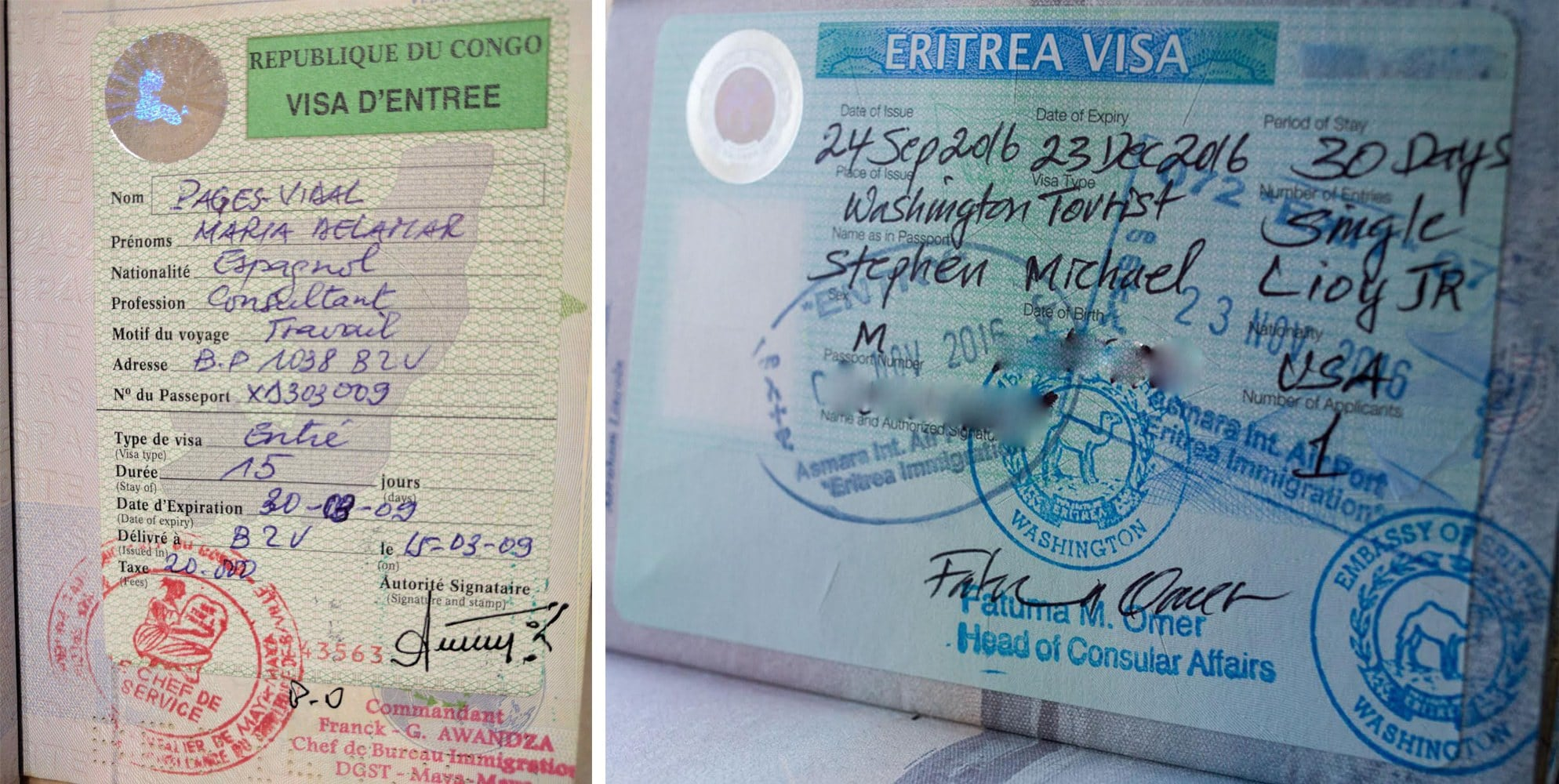 Passport stamp for Congo and Eritrea