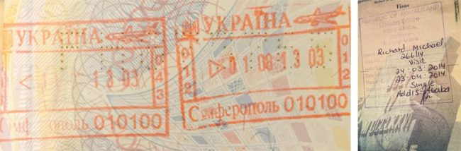 Passport stamps for Simferopol and Somaliland