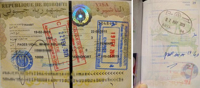 Passport stamps for Djibouti and East Timor