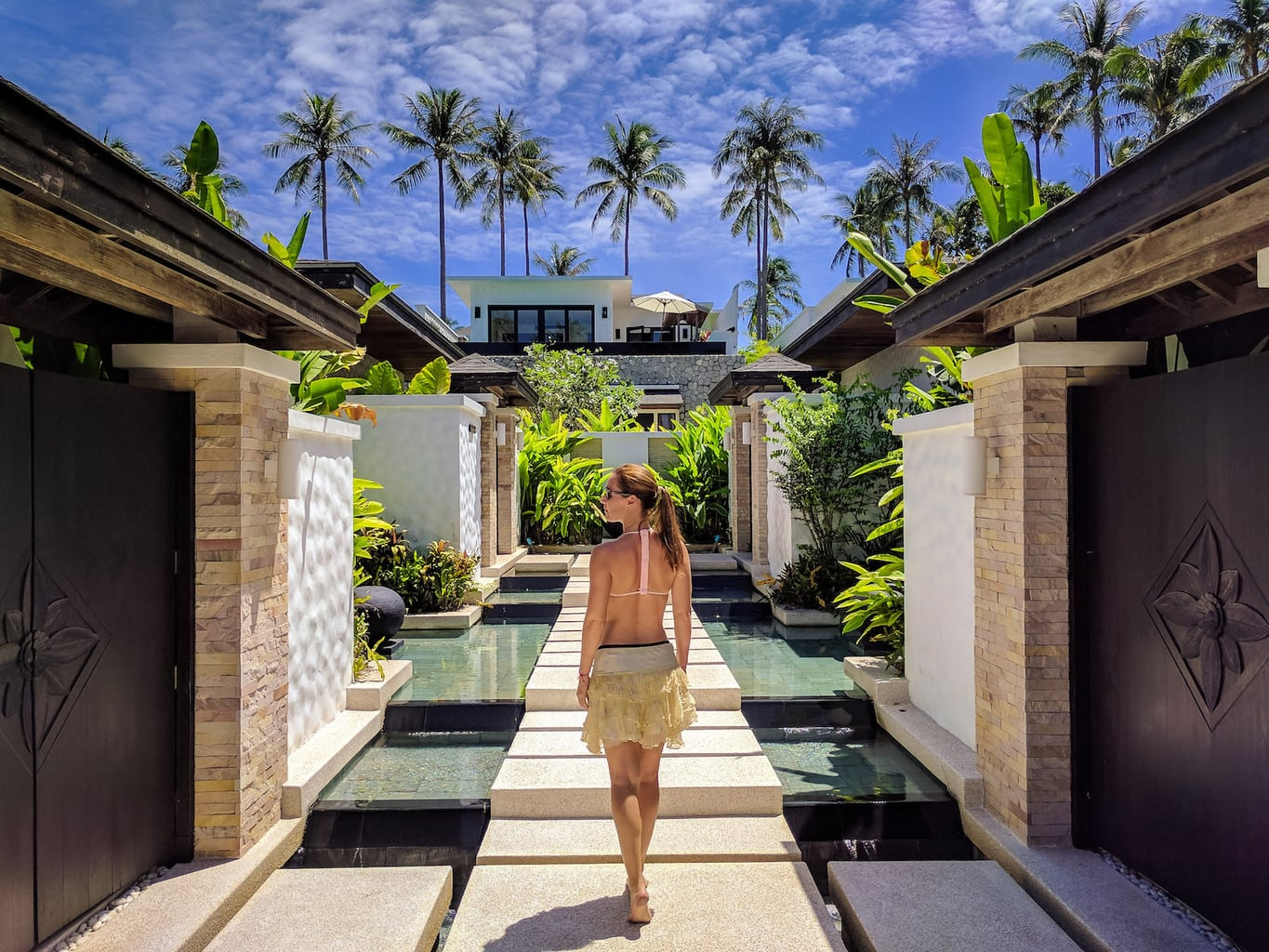 Walking among the luxurious villas
