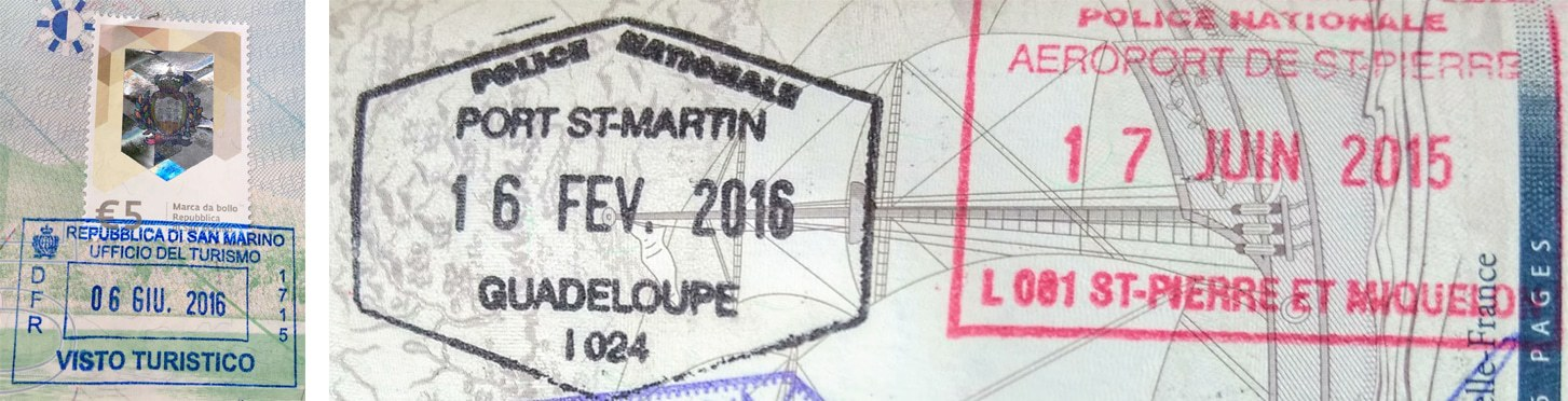 Passport stamps for San Marino and St-Martin (Guadeloupe) and St Pierre et Miquelon